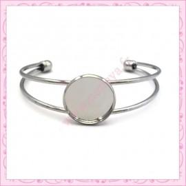 1 bracelet avec support cabochon 20mm argenté en métal