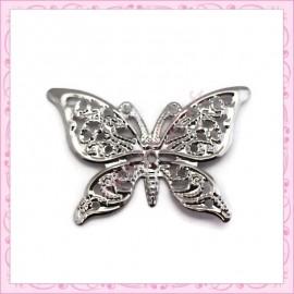 20 estampes filigranes papillons argentées foncé 4.1cm
