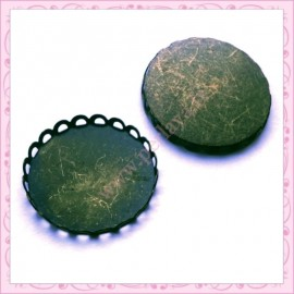 Lot de 10 supports pour globe ou cabochon 15.5mm bronze