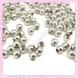 Lot de 500 perles rondes en métal argentées 3mm