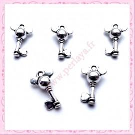 15 breloques clefs argentées 1.9cm