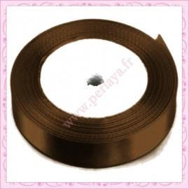 23 mètres de ruban satin 12mm marron chocolat