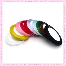 Mix 230 mètres de ruban satin 10mm blanc, jaune, rose, fushia, rose, rouge, violet, bleu, vert, marron, noir
