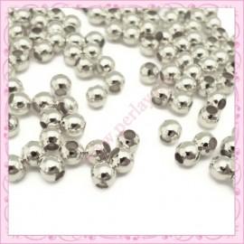 Lot de 300 perles rondes en métal argentées 5mm