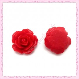 10 cabochons en résine fleur rouge 1,8cm
