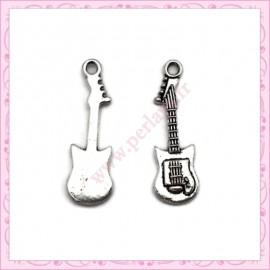 15 breloques guitare argentées en métal 2.6cm