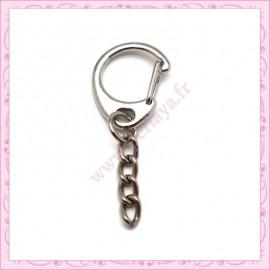 20 mousquetons porte-clefs argentés de 3.4cm