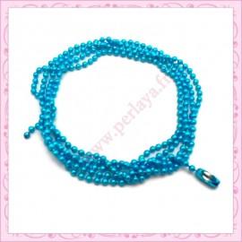 10 colliers 59cm en chaine bille bleu en métal
