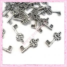 Lot de 30 breloques clefs argentées 2.8cm