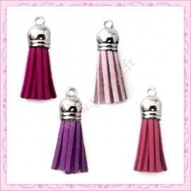 28 pompons violet 35mm style daim-suédine