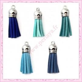 30 pompons bleu 35mm style daim-suédine