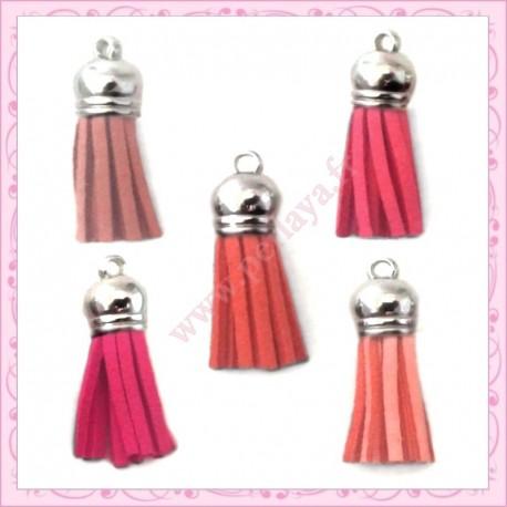 30 pompons rose 35mm style daim-suédine