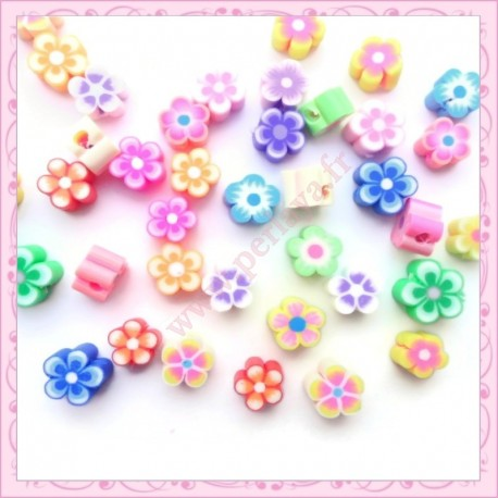 40 perles tranches fimo fruit 10mm