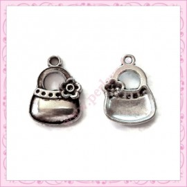 15 breloques sac à main en métal argentées 1.5cm