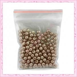 Lot de 200 perles nacrées en verre marron 4mm