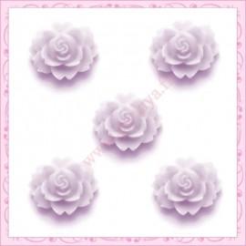 5 cabochons fleurs 18mm violet
