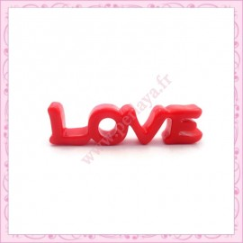 1 cabochons tag LOVE 47mm rouge