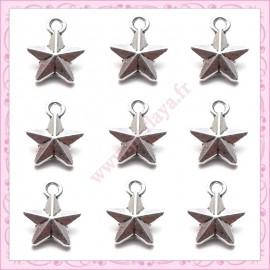 15 breloques étoiles argentées 10mm en métal