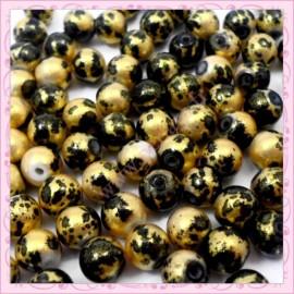 100 perles 8mm noire et or tachetés en verre