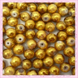 100 perles 8mm dorées tachetés en verre