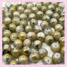 100 perles 8mm marron et or tachetés en verre