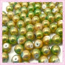 100 perles 8mm grises et dorées tachetées en verre