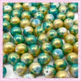 100 perles 8mm vertes et dorées tachetées en verre