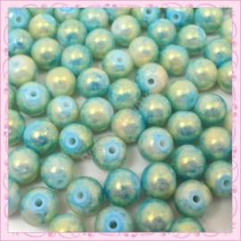 100 perles 8mm vert bleu et dorées tachetées en verre