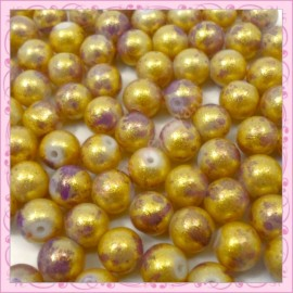 100 perles 8mm bleu et dorées tachetées en verre