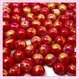 100 perles 8mm violet et dorées tachetées en verre