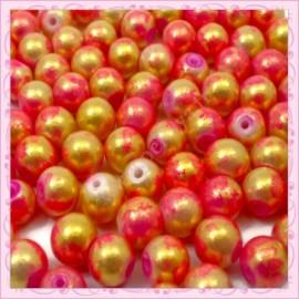 100 perles 8mm rouge et dorées tachetées en verre