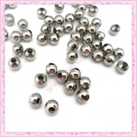 200 perles 6mm rondes en métal argentées