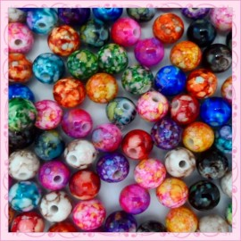 300 perles 8mm tachetées en acrylique