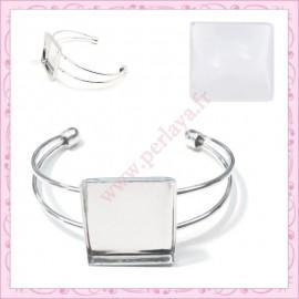 1 bracelet avec support cabochon 25mm argenté foncé en métal