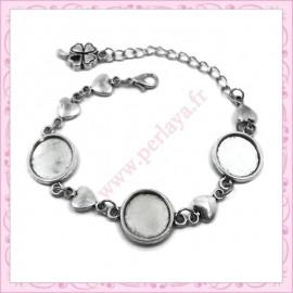 1 bracelet à 3 supports à cabochon 14mm argentés en métal