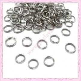 500 anneaux doubles 8mm argentés foncés en métal