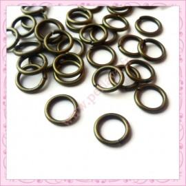 200 anneaux bronze 10mm en métal 1.5mm