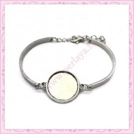 1 bracelet avec support cabochon 18mm argenté en métal