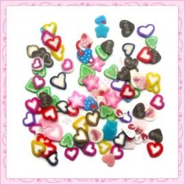 200 tranches fimo coeur et étoile 5mm