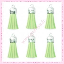 5 pompons 35mm vert pastel style daim-suédine calotte argentée