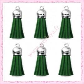 5 pompons 35mm vert impérial style daim-suédine calotte argentée