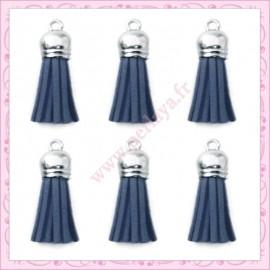 5 pompons 35mm bleu jean style daim-suédine calotte argentée