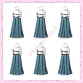 5 pompons 35mm bleu style daim-suédine calotte argentée