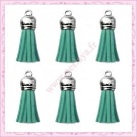 5 pompons 35mm bleu/vert style daim-suédine calotte argentée