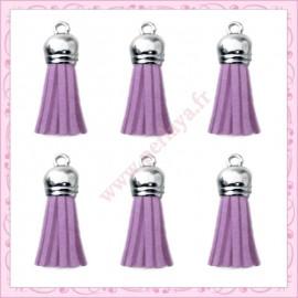 5 pompons 35mm violet parme style daim-suédine calotte argentée