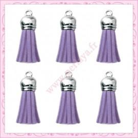 5 pompons 35mm violet lavande style daim-suédine calotte argentée
