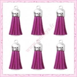 5 pompons 35mm violet style daim-suédine calotte argentée
