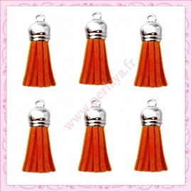 5 pompons 35mm orange style daim-suédine calotte argentée