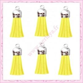 5 pompons 35mm jaune style daim-suédine calotte argentée