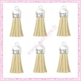 5 pompons 35mm ivoire beige style daim-suédine calotte argentée